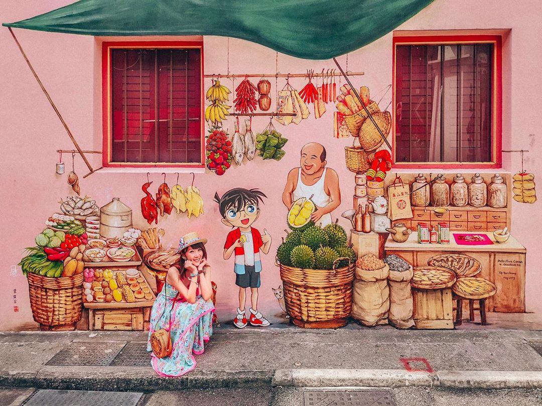 Mural di Chinatown, dekat MRT Jalur Downtown Line