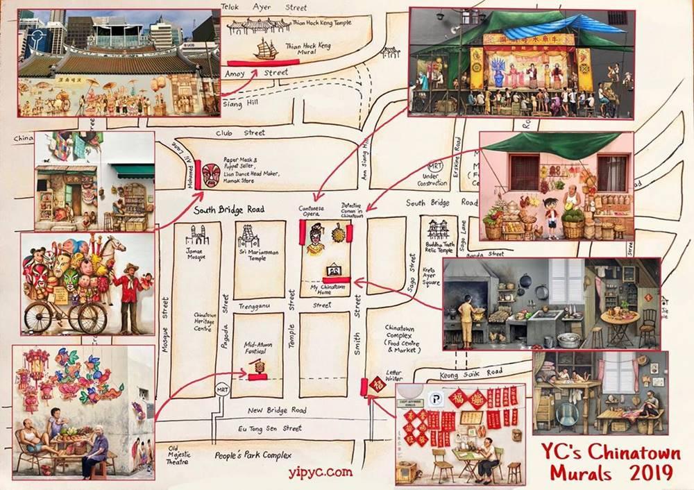 Map Mural di Chinatown. Instagram @yipyewchong
