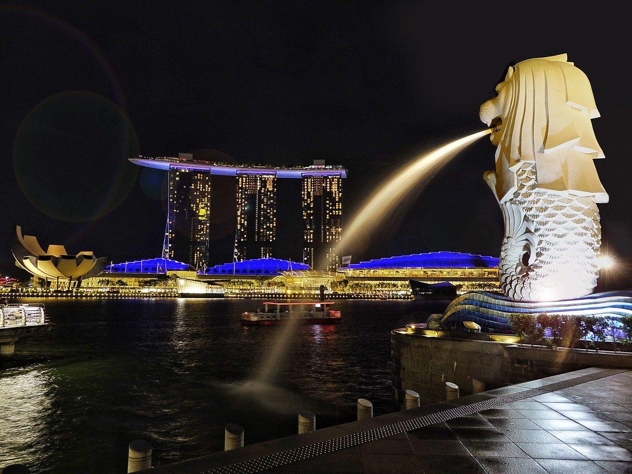 Ilustrasi merlion di Singapura. Photo by Jason Goh on Pixabay