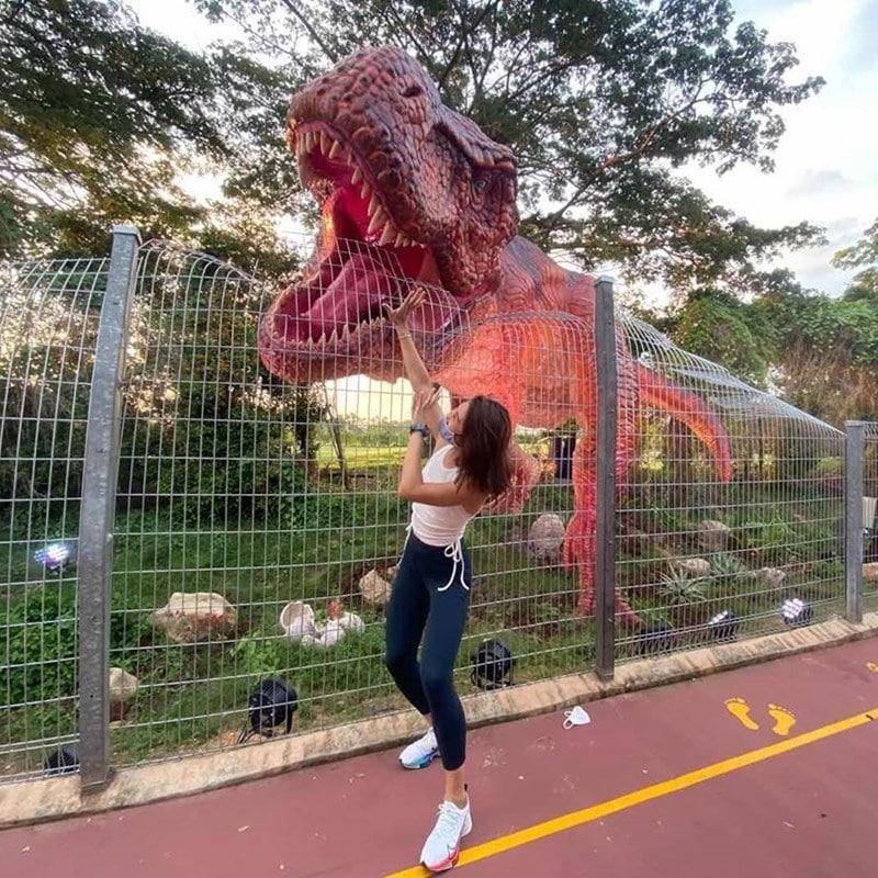 Wisatawan berpose seolah tengah diserang dinosaurus. Instagram @zoeyzuozz